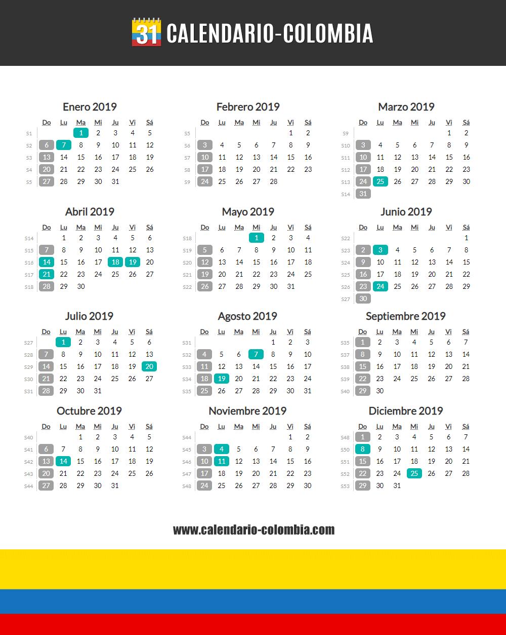 Calendario Festivo.Calendario 2019 Colombia Calendario 2019 Colombia
