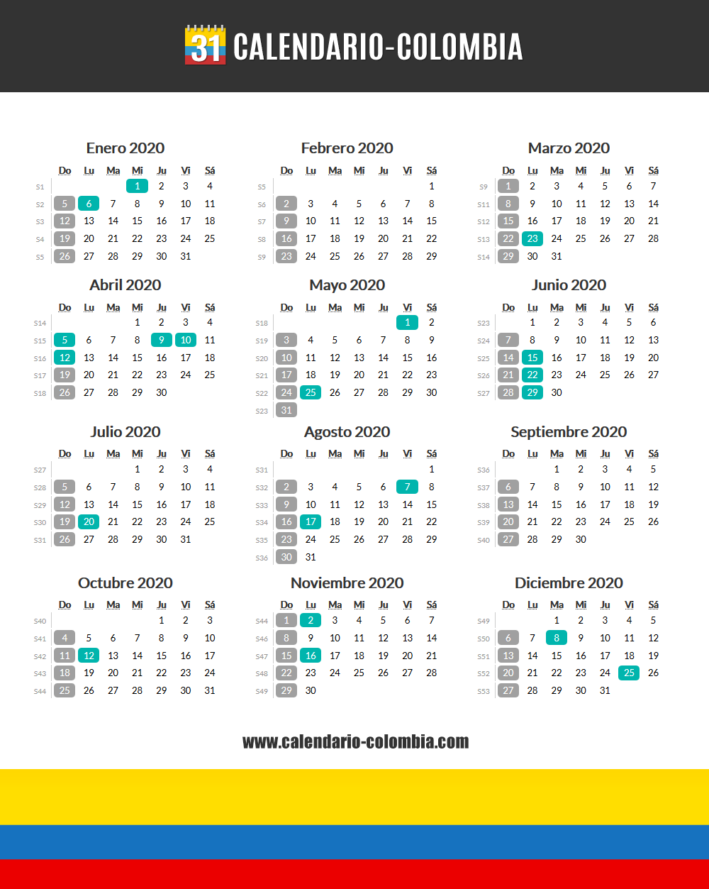 Marzo Calendario 2020.Calendario 2020 Colombia Calendario 2019 Colombia