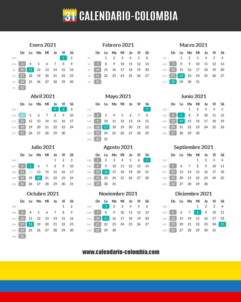 📅🇨🇴 Calendario 2021 Colombia